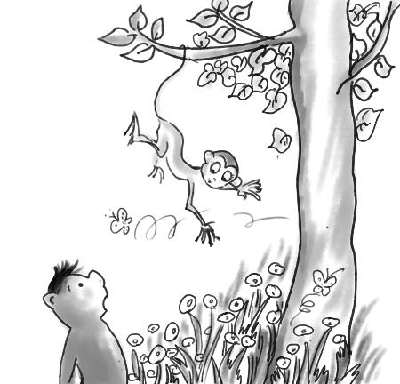 花丛中的蝴蝶简笔画