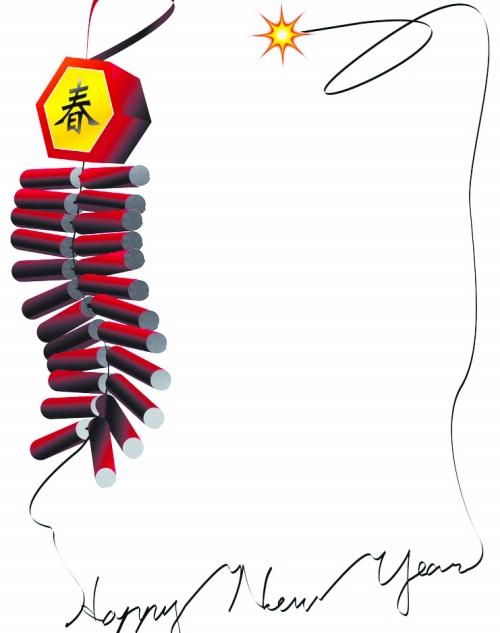 春节鞭炮图片大全 春节鞭炮 边框相框 底纹边框