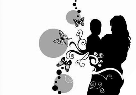 母子剪影,蝴蝶,花卉矢量素材;