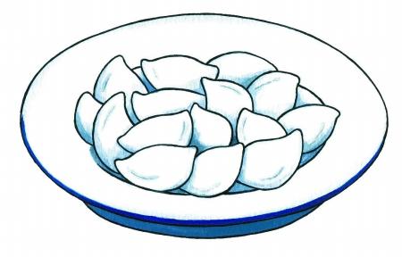 """有的像元宝,有的像麦穗,皮的颜色也深浅不一,编号为""""10""""的一盘饺子"""