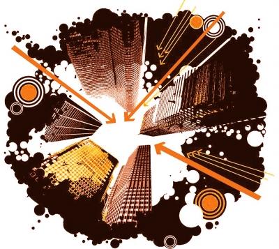 潮流城市大厦插画矢量图下载 矢量风景建筑;; 当前位置:矢量素材