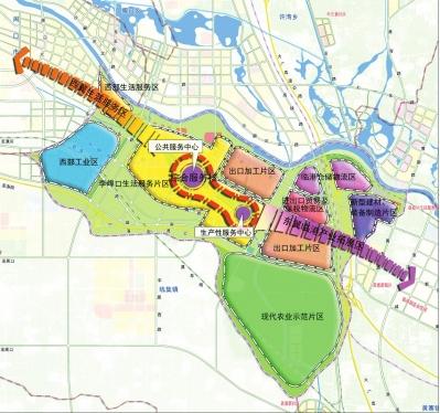 周口港区空间结构规划图
