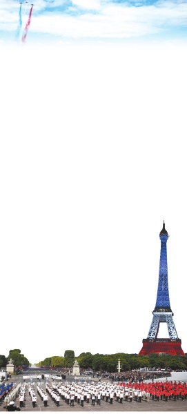 巴黎埃菲尔铁塔亮起法国国旗颜色的灯光
