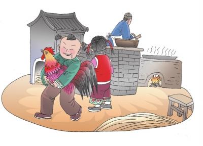 中国过年习俗扫房子简笔画