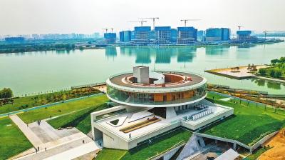"""[公共艺术]360度全景环廊 尽览北龙湖风光 郑州""""城市之冠""""芳容初露"""