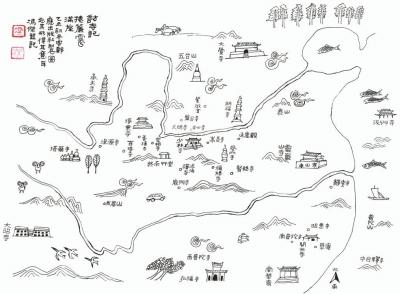 《访寺记》手绘地图 冯杰绘