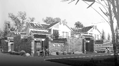 小康型新农村住宅效果图 一层平面图 宅基地面积200平方米