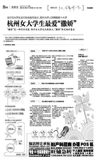 代付笔均金额133元,排名相对靠后,这也说明郑州的女大学生相对独立.图片