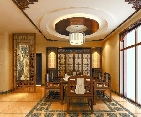 中式木制格栅门廊,将玄关区域从客厅独立出来