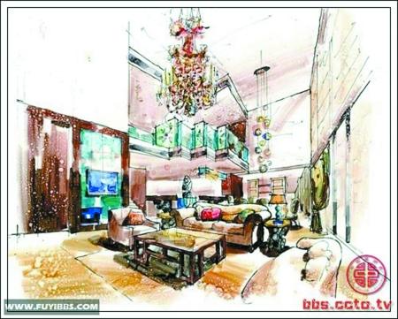 中咖啡厅手绘效果图