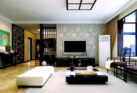 半通透隔断使电视背景墙显得十分大气  整个家庭的装修风格,简约而