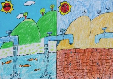 儿童节约用水绘画作品【相关词_ 勤俭节约绘画作品】