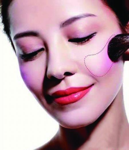 不同脸型使用不同的腮红画法