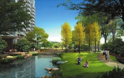 项目自身建设有大型主题景观和空中生态花园,假山,喷泉,瀑布,花架和