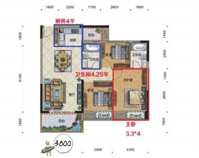 尺寸合理户型(94平方米3房,开间38平方米,主卧有13平方米,厨房