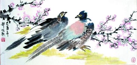 壁纸 动物 国画 鸟 鸟类 雀 450_215