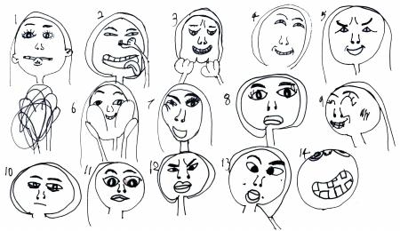 认真的表情简笔画手绘
